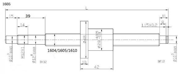 Рис.3 Чертёж стандартной токарной обработки винта ШВП Ø16мм.